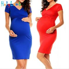 Maternity Dress 2016 Comfortable Maternity Dress V neck Pregnant Dress S M  L XL Women s Plus Size Nursing Clothes Black Red Blue-in Dresses from  Mother ... bbb477b562f2