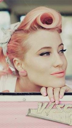 Retro Pink Hair! – http://thepinuppodcast.com re-pinned this because we are trying to make the pinup community a little bit better. More