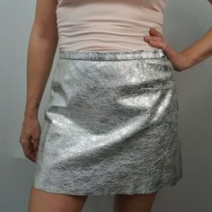 & Other Stories Size 40 UK 12 US 8 Silver Leather Skirt Mini A-Line Short Suede #OtherStories #ALine