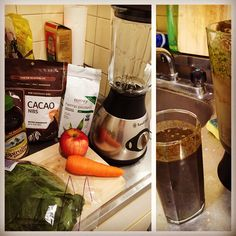#Green #smoothie in my teensy #Tokyo sublet: Spinach, Apple, Carrot, Blueberries, Spirulina, Raw Cacao Nibs, Hemp Protein Powder
