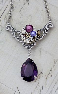 Steampunk Purple Amethyst Necklace