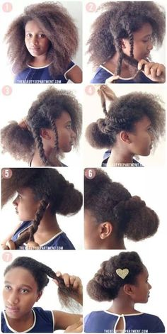 Natural hair, protective styles, braids, updo, Afro, TWA