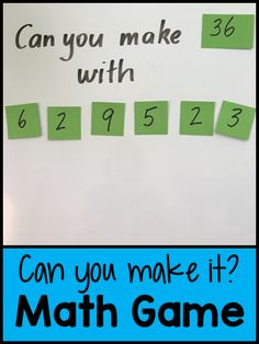 Can You Make It? Math Game - great game for differentiating. Can You Make It? Math Game - great game for differentiating. Fourth Grade Math, Second Grade Math, 4th Grade Math Games, Math Activities, Mental Maths Games, Maths Games For Kids, Mental Math Strategies, Multiplication Strategies, Math Enrichment