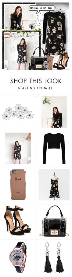 """""""Dark Floral Beauty // Rosegal"""" by angelstylee ❤ liked on Polyvore featuring WALL, Cherrykoko and Harrods"""
