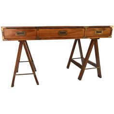 Vintage Campaign Desk by Bernhardt | From a unique collection of antique and modern desks at http://www.1stdibs.com/furniture/storage-case-pieces/desks/