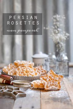 These Persian Rosettes, nan panjareh (window cookies), are delicate treats. Similar to funnel cakes, they are deep fried and dusted with powdered sugar. Rosettes Cookie Recipe, Rosette Cookies, Christmas Baking, Christmas Hanukkah, Christmas Cookies, Christmas Recipes, Hanukkah Recipes, Holiday Baking, Best Cookie Recipes