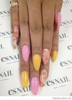 Pink and yellow gel nails design