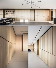 This modern apartment has sea views from every window, and to emphasize and perpetuate the horizon, the designers pulled it's silhouette into the house with a brass element that wraps around the walls. Lobby Design, Küchen Design, Door Design, Fish Design, Design Ideas, House Design, Lobby Interior, Interior Walls, Modern Interior
