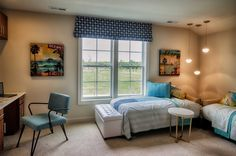 "Interior bedroom design of the ""Chesapeake Ranch"" model home by Christopher Companies in Millville by the Sea. #SeasideInteriors"