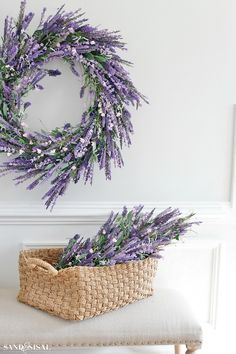 For the Love of Lavender - Fabulous Faux Florals - Sand and Sisal spring-decorating-ideas-faux-lavender-wreath-and-swag Lavender Decor, Lavender Crafts, Lavender Wreath, Lavender Flowers, Lavender Ideas, Lavender Kitchen, Lavender Bathroom, Purple Bathrooms, Walk In Shower Designs