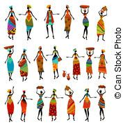 Set of isolated beautiful African women
