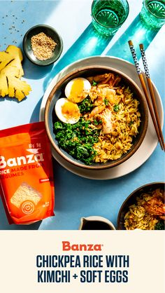 Banza Chickpea Rice with Kimchi and Soft Eggs Soy Ginger Dressing, Kimchi Rice, Dinner Ideas, Dinner Recipes, Easy Rice Recipes, How To Eat Better, Rice Bowls, Korean Food