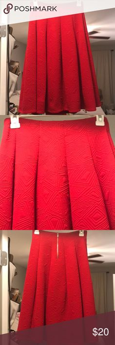 """Red patterned pleated skirt Boutique midi skirt Color: red Style: pleated, patterned  Length: mid length (I'm 5'6"""" and it fell mid length of my calf) Size: small Condition: good, only worn once! Francesca's Collections Skirts Midi"""