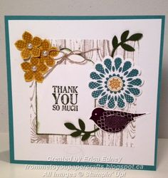 """Stamp Sets: Polka-Dot Pieces, Lots of Thanks, Petite Petals, Hardwood  Ink Pads: Blackberry Bliss, Hello Honey, Lost Lagoon, Basic Gray, Mossy Meadow  Card Stock: Lost Lagoon, Whisper White, Hello Honey, Mossy Meadow  Punches: Scalloped Tag Topper, 1-3/4"""" Scallop Circle, 1/2"""" Circle, Bird Builder, Petite Petals  Sizlits: Little Leaves :  Embellishments: Pearls, Linen Thread"""