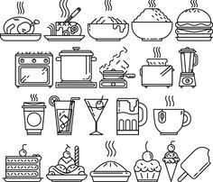 Freebie: 21 Food Vector Line Art