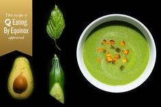 [ Recipe: Melon-Basil Soup with Cucumbers Pimentón ] Made with: honeydew melon, English cucumber, basil leaves, ripe avocado, fresh lime juice, kosher salt, ice cubes, smoked paprika (pimentón), and extra-virgin olive oil. ~ from Tasting Table Recipes
