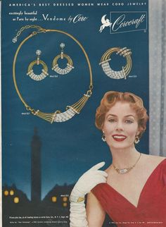 1953 COROCRAFT Paris Place VENDOME Rhinestone Necklace Pin Earrings Bracelet Parure Vintage Costume Jewelry Ad by ChicTiques on Etsy
