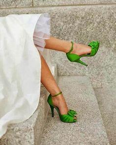 Zapatos de novia en verde lima