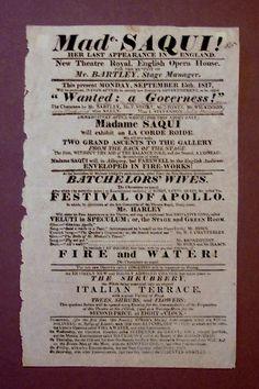 Flyer for a Madame Saqui performance Opera House, Opera