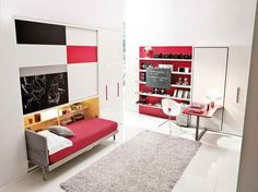 Unique Folding Bed Desk Design  with nice carpet