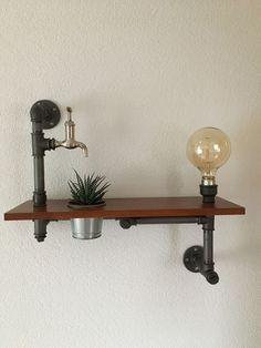 Shelf with plant and lamp, industrial, vintage