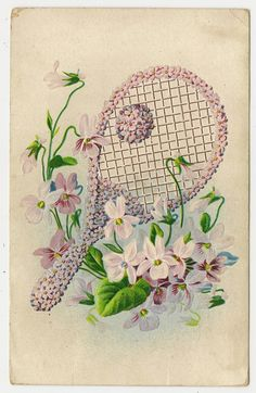 Tennis racquet and ball made of flowers on an American vintage postcard, 1909.