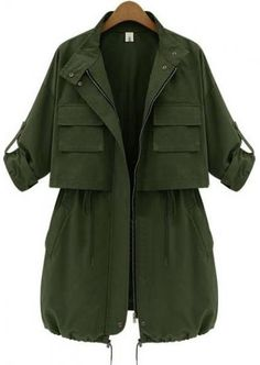 Army Green Long Sleeve Drawstring Pockets Trench Coat pictures