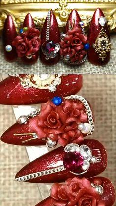7 Φεβ 2020 - Latest Nail Art Designs Ideas & Trends Collection 2020 Rose Nail Art, Rose Nails, Nail Art Hacks, Nail Art Diy, Flower Nail Art, Rose Art, 3d Nail Designs, Nail Art Designs Videos, Nail Art Videos