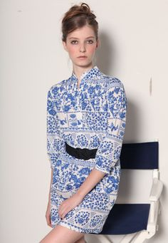 Blue & White China Dress