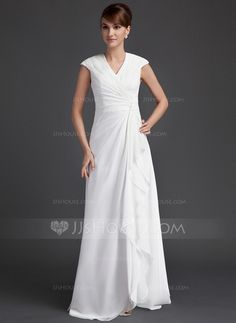 [US$ 136.99] A-Line/Princess V-neck Floor-Length Chiffon Mother of the Bride Dress With Ruffle Cascading Ruffles (008006565)