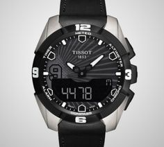 Tissot T-Touch Expert Solar Tony Parker 2014 Men's Quartz Chrono Anthracite Dial Watch with Black Leather Strap Tissot T Touch, Emporio Armani, Breitling Superocean, Armani Exchange, Black Dating, Limited Edition Watches, Solar, Shows, Luxury Watches For Men