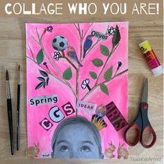 """Collage Who You Are"" Self-Portrait (TeachKidsArt) Portraits For Kids, Creative Self Portraits, Student Self Portraits, Collage Kunst, Collage Art, Middle School Art, Art School, Self Portrait Art, Collage Portrait"