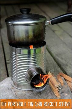 Next time you head off for a camping trip, why not make your own portable tin can rocket stove?