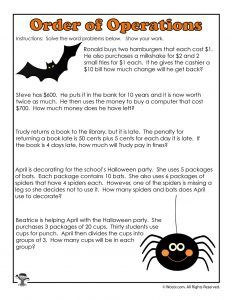 Order Of Operations Worksheets For Halloween Woo Jr Kids Activities Order Of Operations Math Word Problems Word Problem Worksheets Order of operations worksheets grade