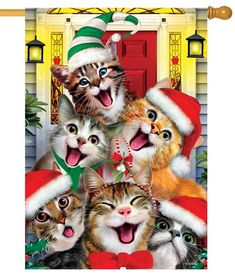 This adorable kitty cat garden flag shows a hilarious group of cats all dressed up for Christmas, making faces and posing for a selfie. Christmas Kitten, Christmas Animals, Vintage Christmas, Handmade Christmas, I Love Cats, Cute Cats, Funny Cats, Christmas Garden Flag, Christmas Trees