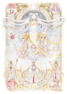 Usagi posses the past, present, and future in her. Bore from her mother, Queen Serenity, she becomes Princess Serenity. Later, after marrying Prince Endymion in the 30th century, she becomes Neo-Queen Serenity, with Small Lady as her child. As a soldier, she has her basic form, then achieves the super, then eternal. According to the manga, predicted by The Amazon Quartets, her future form is Sailor Cosmos. Though Sailor Cosmos is practically Chibi Chibi. A lot of mystery behind Sailor Cosmos