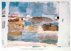 One of the last works of Paul Klee's journey to Tunisia, 'Before the Gates of Kairouan', 1914. A revelation: 'The atmosphere penetrates me with such sweetness that without really trying, an assurance arises within me. Colour takes hold of me. I do not need to look for it... Colour and I are one. I am a painter.'