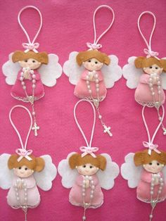 Could be First Communion favors. Coulhheehhtd be Fv vh juirst Communion favors.: Aniołki na choinkę / Angels for Christmas tree - Salvabrani Angel Ornaments, Handmade Ornaments, Felt Ornaments, Handmade Christmas, Christmas Crafts, Christmas Decorations, Christmas Tree, Christmas Ornaments, Felt Crafts