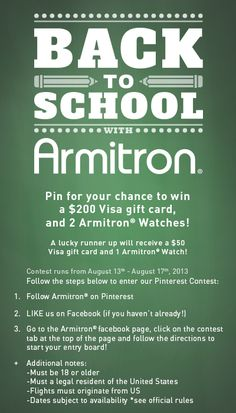 Pin for your chance to win in our Armitron Back To School Pinterest contest! Check out Armitron on facebook to start your entry! #ArmitronWatches #ArmitronSchoolSupplies