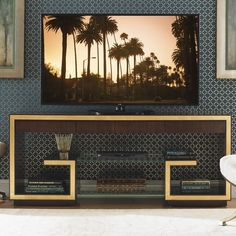 Bel Aire Rodeo TV Stand for TVs up to 70 - TV Stands - Ideas of TV Stands - Features: -Gold leaf accents. -Two ultra clear Hardwood Furniture, Furniture Design, Tv Stand Gold, Avalon Furniture, Dresser Tv Stand, Tv Stand Designs, Lexington Home, Cool Tv Stands, Tv Unit Design