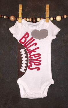 Personalized Ohio State Buckeyes Team Football Onesie.   Size newborn - 18 months. by Loonybecks on Etsy
