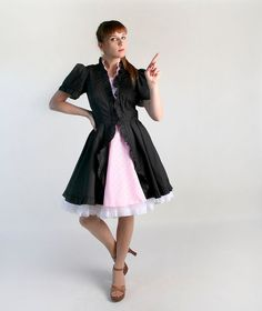 Vintage French Maid Lolita Dress  Black and Pink Square by zwzzy