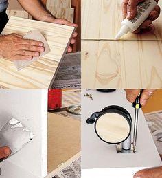 Lixe primeiro todas as peças e use cola para unir as partes. Para acabamento, esconda com massa corrida as cabeças dos pregos e outras imperfeições. Depois pinte com esmalte sintético ou tinta acrílica acetinada para paredes. Por último fixe os rodízios.
