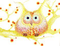 Owling Around ORIGINAL 8x9 Watercolor ink by WhimsicalArtStudio, $28.00