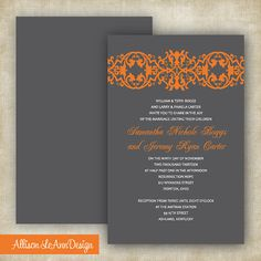 Gray Orange Wedding Invitation by AllisonLeAnnDesign on Etsy