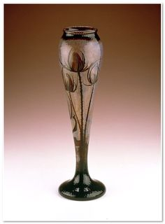 Vase c. 1895  Daum Frères (France, Europe)  Acid polished, etched, and polished glass 20 1/16 x 6 in. (50.96 x 15.24 cm)
