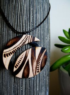 Wooden Necklace - World of Leaves, Wooden Pendant, Woodburned Necklace, Earthy, Organic on Etsy, $28.00