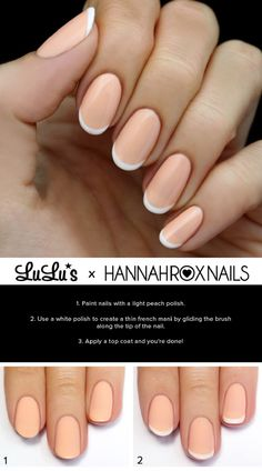 Peach and White French Nail Tutorial - 16 Trending Beauty Tutorials to Look for in 2015! | GleamItUp