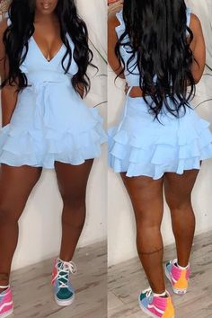 Lovely Stylish V Neck Ruffle Design Baby Blue Two-piece Skirt Set Comfort clothing for women staying at home. New arrival fashion clothing. 2020 newest clothing. Sexy Outfits, Skirt Outfits, Chic Outfits, Summer Outfits, Two Piece Outfit, Two Piece Skirt Set, Two Piece Rompers, Blue Two Piece, New Arrival Dress