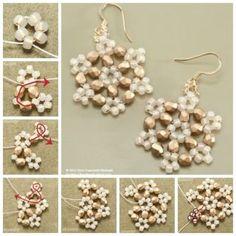 How to make beaded snowflake earrings earrings diy diy ideas diy crafts do it yourself diy projects snowflake Diy Lace Earrings, Beaded Jewelry, Beaded Ornaments, Handmade Ornaments, Snowflake Ornaments, Beading Tutorials, Beading Patterns, Beading Ideas, Snowflake Pattern